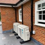Close up of outdoor units on flat roof