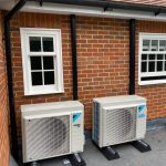Different angle of outdoor units on flat roof